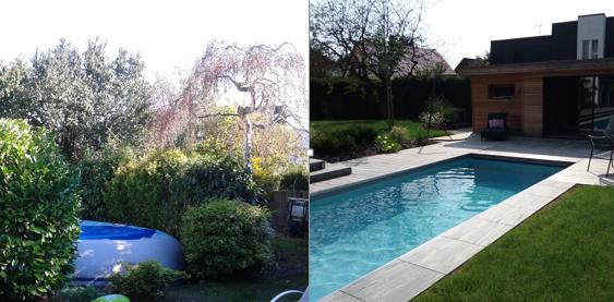 Avant / Après – réaménagement jardin Strasbourg avec piscine