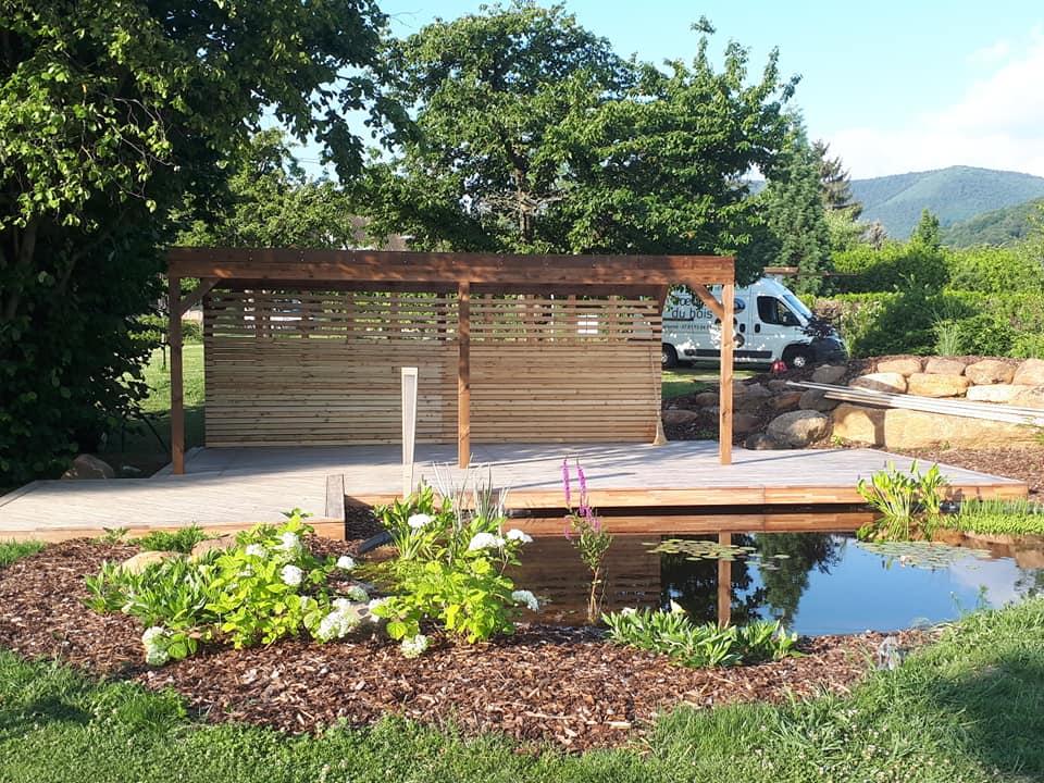 Avant / Après – aménagement d'une terrasse bois et d'un bassin à Boersch