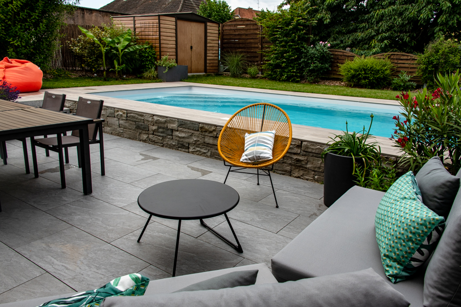 Dachstein – réaménagement d'un petit jardin avec piscine (avant / après)